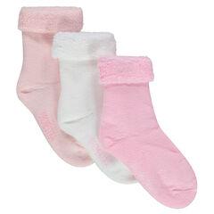 Lot de 3 paires de chaussettes naissance intérieur bouclettes
