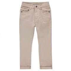 Junior - Pantalon en twill uni effet crinkle