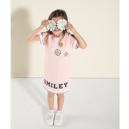 Robe manches courtes forme tee-shirt avec broderies et print Smiley