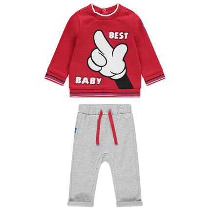 Ensemble avec sweat print Mickey Disney et pantalon en molleton chiné