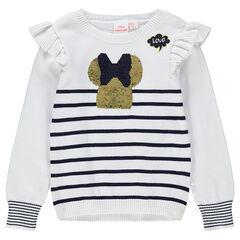 5a2d3cf9c2727 Pull en tricot style marinière avec Minnie en sequins magiques ©Disney