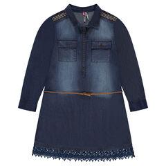 Junior - Robe chemise en denim imprimé pois avec dentelle et broderies
