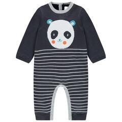 Combinaison en tricot avec panda en jacquard et rayures