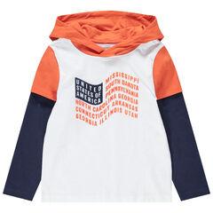 T-shirt manche longues effet 2 en 1 avec drapeau printé