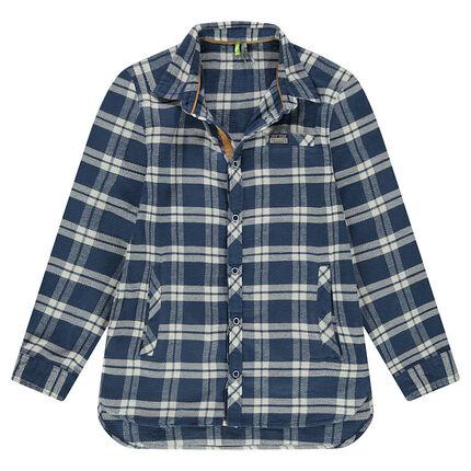 Junior - Chemise manches longues en flanelle à carreaux contrastés