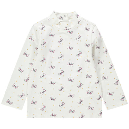 Sous-pull col cheminée à petits noeuds all-over Minnie Disney