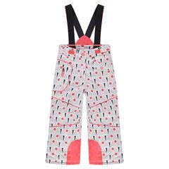 Pantalon de ski imprimé graphique all-over avec bretelles amovibles