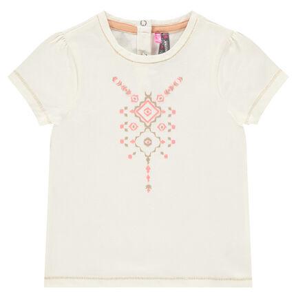 Tee-shirt manches courtes avec print pailleté