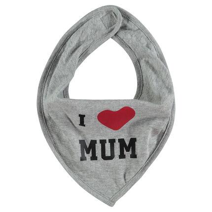 Bavoir en jersey forme bandana avec message printé