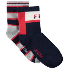Lot de 2 paires de chaussettes à bandes contrastées