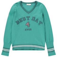 Junior - Pull en tricot avec inscription pailletée et sequins