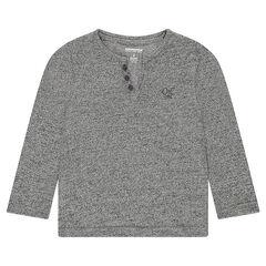 Junior - Tee-shirt manches longues en maille twistée avec logo brodé