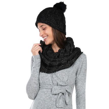 Ensemble bonnet et snood en tricot mélangé de fil brillant