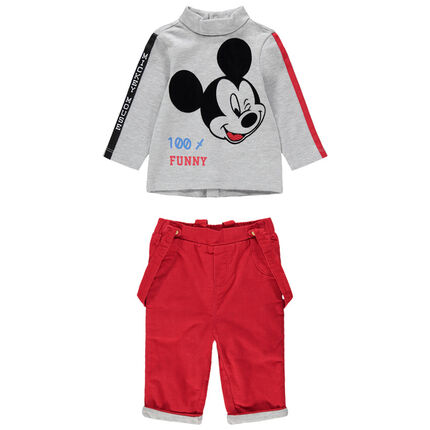 Ensemble avec t-shirt print Mickey et pantalon en velours côtelé