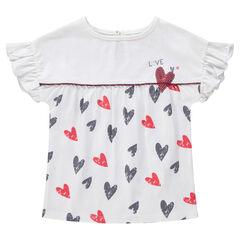 Tee-shirt manches courtes volantées avec coeurs printés