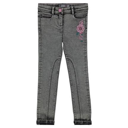 Jeans slim effet neige avec broderies