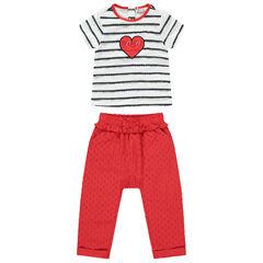 Ensemble avec t-shirt rayé et pantalon rouge effet plumetis