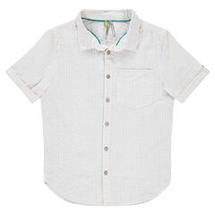 Chemise manches courtes à rayures all-over