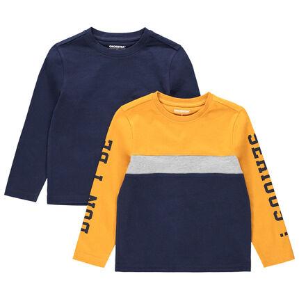 Lot de 2 t-shirts manches longues uni / tricolore à inscriptions printées