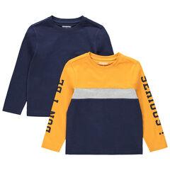 Junior - Lot de 2 t-shirts manches longues en jersey uni/tricolore