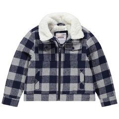 Veste en flanelle à carreaux doublée sherpa à poches