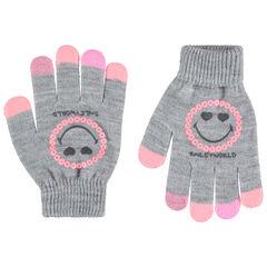 Gants en tricot gris chiné print Smiley avec sequins roses