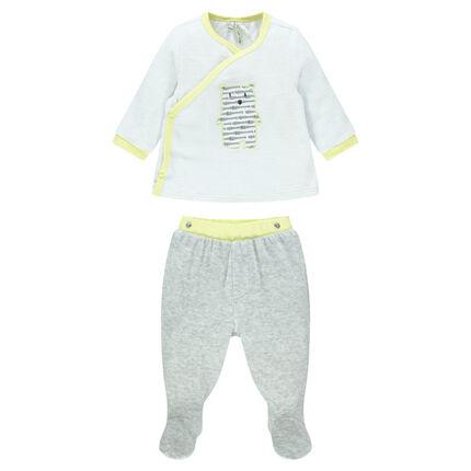 Pyjama en velours avec ourson patché sur le devant