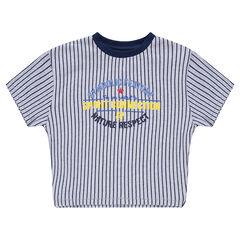 23b61a46baa71 Tee-shirt manches courtes à rayures verticales avec inscriptions printées