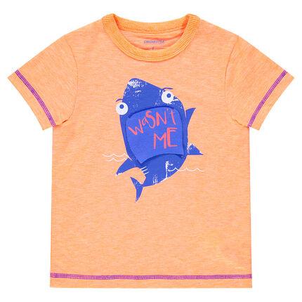 Tee-shirt manches courtes en jersey chiné avec requin printé et empiècement mobile