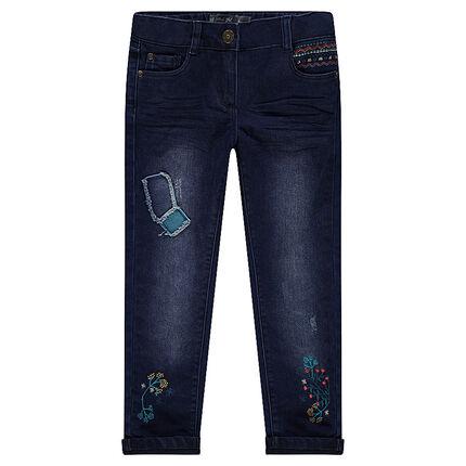 Jeans droit fitté avec patchs et broderies doublé jersey