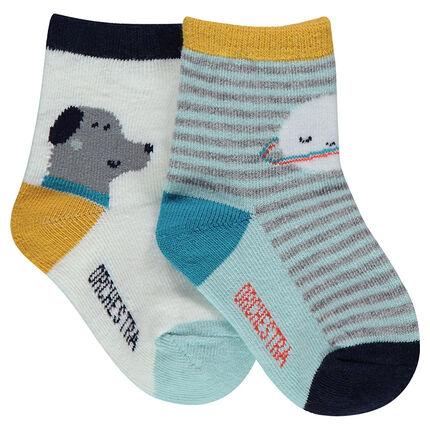 Lot de 2 paires de chaussettes assorties avec rayures et animaux printés