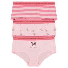 Junior - Lot de 3 shorties en coton avec papillons printés