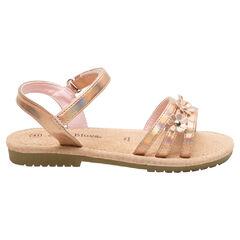 Nu-pieds avec brides irisées et fleurs du 28 au 32