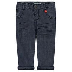 Jeans effet crinkle doublé jersey avec poche printée