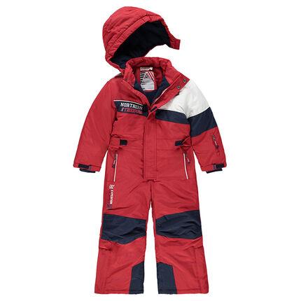 Combinaison de ski tricolore doublée micropolaire avec poches zippées