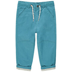 Pantalon bleu en toile doublé jersey