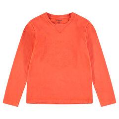 Junior - Tee-shirt manches longues en jersey avec tigre brodé sur le devant