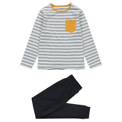 Junior - Pyjama en jersey avec haut rayé et pantalon avec texte printé