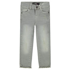 Junior - Jeans effet used avec déchirures fantaisie et franges