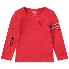 Tee-shirt manches longues en jersey avec motifs printés et bandes appliquées