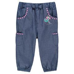 Pantalon en chambray avec détails brodés et poches