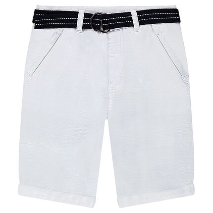 Junior - Bermuda blanc en coton fantaisie avec ceinture amovible