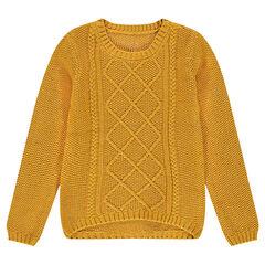 Junior - Pull en tricot moutarde avec jeux de mailles