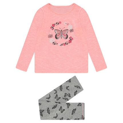 Junior - Pyjama en jersey bicolore avec papillons printés