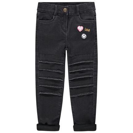 Jeans slim doublé jersey avec Smiley brodé au dos