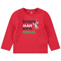 Tee-shirt manches longues en jersey avec message et print ©Marvel Spiderman