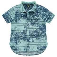 Chemise manches courtes en coton avec rayures et fond imprimé
