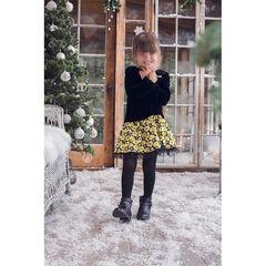 Robe effet 2 en 1 en panne de velours et motif floral pailleté