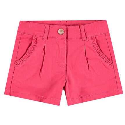 Short en coton avec biais volanté sur les poches