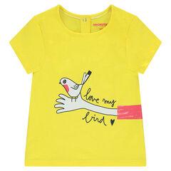 Tee-shirt manches courtes en coton organique avec motif fantaisie printé